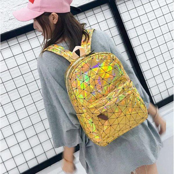 Large Travel Bags Laser Backpack Women Men Girls Bag PU Leather Holographic Backpack School Bags for 3 Large Travel Bags Laser Backpack Women Men Girls Bag PU Leather Holographic Backpack School Bags for Teenage Girls fashion bag