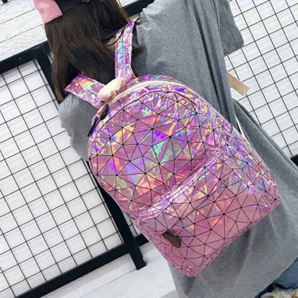 Large Travel Bags Laser Backpack Women Men Girls Bag PU Leather Holographic Backpack School Bags for 4 Large Travel Bags Laser Backpack Women Men Girls Bag PU Leather Holographic Backpack School Bags for Teenage Girls fashion bag