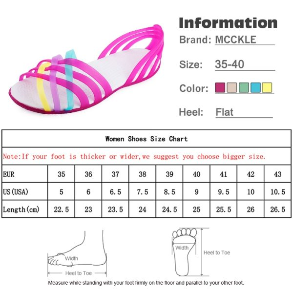 MCCKLE Women Jelly Shoes Rainbow Summer Sandals Female Flat Shoes Ladies Slip On Woman Candy Color 5 MCCKLE Women Jelly Shoes Rainbow Summer Sandals Female Flat Shoes Ladies Slip On Woman Candy Color Peep Toe Women's Beach Shoes