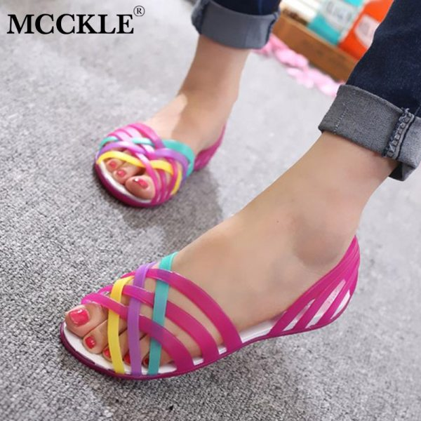MCCKLE Women Jelly Shoes Rainbow Summer Sandals Female Flat Shoes Ladies Slip On Woman Candy Color MCCKLE Women Jelly Shoes Rainbow Summer Sandals Female Flat Shoes Ladies Slip On Woman Candy Color Peep Toe Women's Beach Shoes
