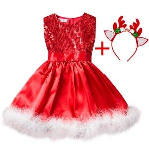 Red Christmas Dress Girl Costume Kids Dresses For Girls Baby Santa Clus Dress Up Children Party Innrech Market.com