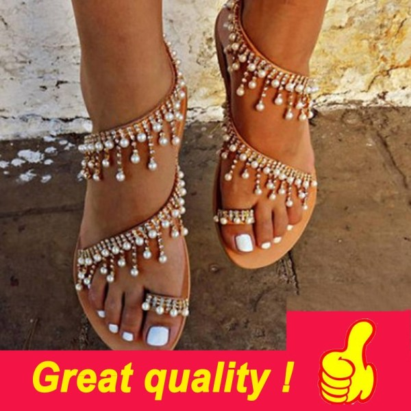 Women sandals summer shoes flat pearl sandals comfortable string bead slippers women casual sandals size 34 Women sandals summer shoes flat pearl sandals comfortable string bead slippers women casual sandals size 34 - 43