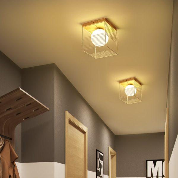 2019 New Nordic Indoor Wood Led Ceiling Light Fixture Luminaire Modern Iron Net Bedroom Corridor Hallway 1 Wooden Ceiling Light   Wood Flush Mount Light   New Nordic Indoor Wood Led Ceiling Light Fixture Luminaire Modern Iron Net, Bedroom Corridor Hallway Mount Lamp Aisle Decor Voltage 90-260V