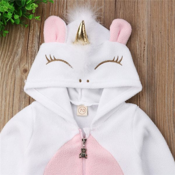 Emmababy Baby Girl 3D Unicorn Flannel Rompers Fashion ropa bebe girls Cartoon Hooded warm zipper Jumpsuit 1 Emmababy Baby Girl 3D Unicorn Flannel Rompers Fashion ropa bebe girls Cartoon Hooded warm zipper Jumpsuit Newborn Romper Clothes