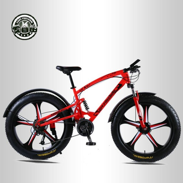 Love Freedom High Quality Bicycle 7 21 24 27 Speed 26 4 0 Fat Bike Front 1 Love Freedom High Quality Bicycle 7/21/24/27 Speed 26*4.0 Fat Bike Front And Rear Shock Absorbers double disc brake Snow bike