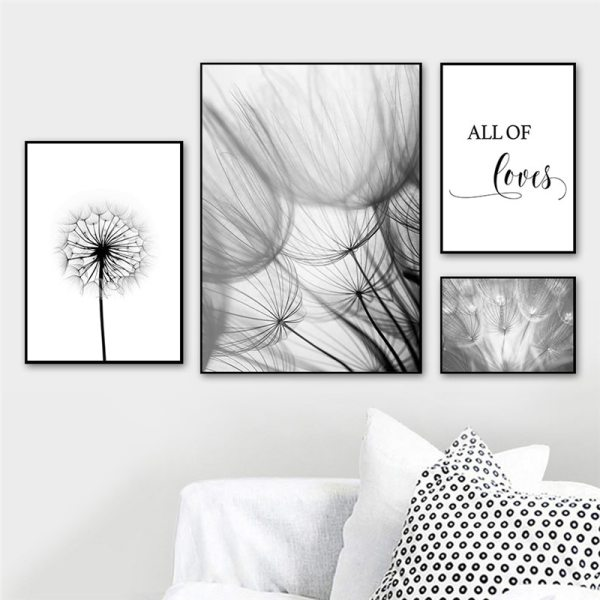 Nordic Dandelion Art Canvas Painting Posters And Prints Black White Loves Life Quotes Wall Pictures For 1 Nordic Dandelion Art Canvas Painting Posters And Prints Black White Loves Life Quotes Wall Pictures For Living Room Decor AL133