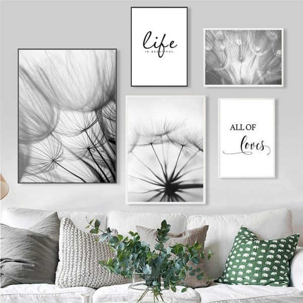 Nordic Dandelion Art Canvas Painting Posters And Prints Black White Loves Life Quotes Wall Pictures For 2 Nordic Dandelion Art Canvas Painting Posters And Prints Black White Loves Life Quotes Wall Pictures For Living Room Decor AL133