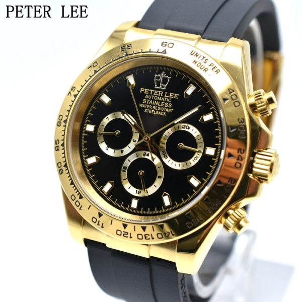 PETER LEE Dial 41 mm Silicone Military Chronograph Automatic Mechanical Men Watch Sport Clocks Mens Watch Automatic Watch | PETER LEE Watches | 41mm Silicone Military Chronograph Automatic Mechanical Men Watch Sport Clocks Mens Watch Top Brand Luxury Gift