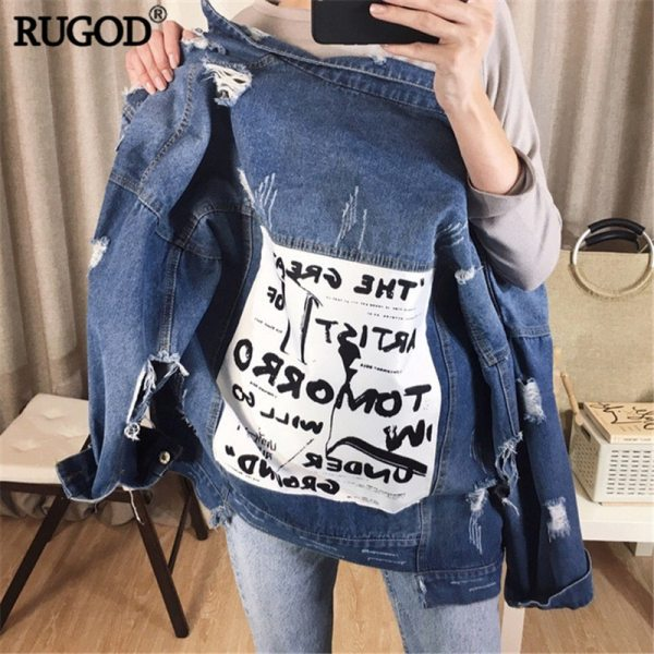 RUGOD Basic Coat Bombers Vintage Fabric Patchwork Denim Jacket Women Cowboy Jeans 2019 Autumn Frayed Ripped 1 RUGOD Basic Coat Bombers Vintage Fabric Patchwork Denim Jacket Women Cowboy Jeans 2019 Autumn Frayed Ripped Hole Jean Jacket