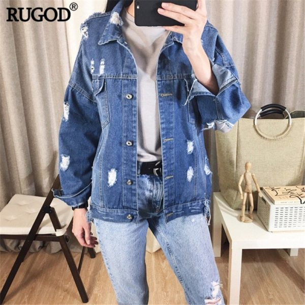 RUGOD Basic Coat Bombers Vintage Fabric Patchwork Denim Jacket Women Cowboy Jeans 2019 Autumn Frayed Ripped 2 RUGOD Basic Coat Bombers Vintage Fabric Patchwork Denim Jacket Women Cowboy Jeans 2019 Autumn Frayed Ripped Hole Jean Jacket