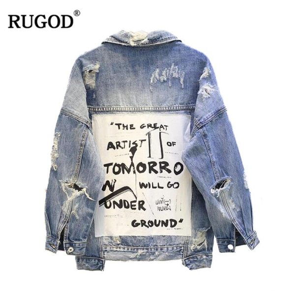 RUGOD Basic Coat Bombers Vintage Fabric Patchwork Denim Jacket Women Cowboy Jeans 2019 Autumn Frayed Ripped RUGOD Basic Coat Bombers Vintage Fabric Patchwork Denim Jacket Women Cowboy Jeans 2019 Autumn Frayed Ripped Hole Jean Jacket