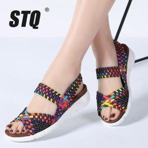 STQ 2019 women flat sandals shoes women woven wedge sandals ladies beach summer slingback sandals flipflops Innrech Market.com