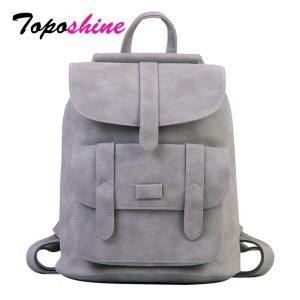 Toposhine Famous Brand Backpack Women Backpacks Solid Vintage Girls School Bags for Girls Black PU Leather Innrech Market.com