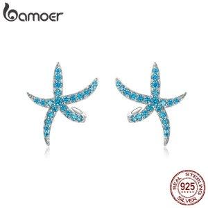 bamoer Starfish Stud Earrings for Women Genuine 925 Sterling Silver Fashion Blue Earings Studs Korean Design Innrech Market.com