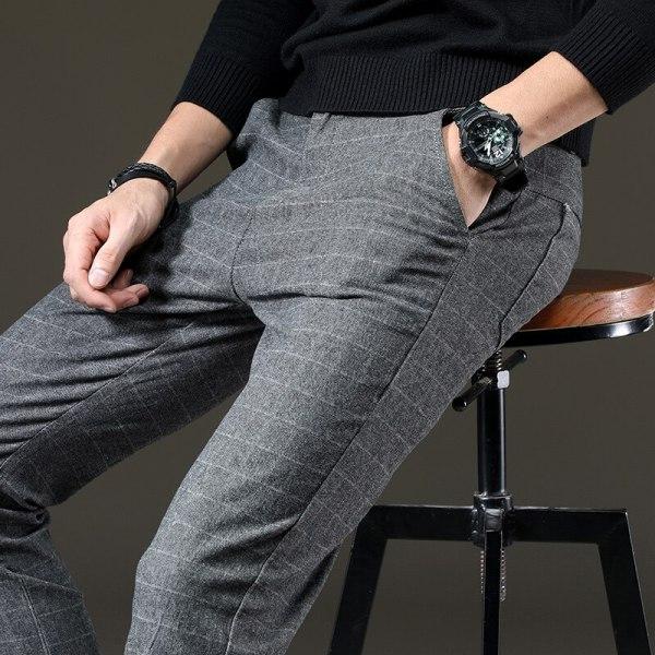 jantour Brand Pants Men Casual Elastic Long Trousers Male Cotton lattice straight gray Work Pant men 4 jantour Brand Pants Men Casual Elastic Long Trousers Male Cotton lattice straight gray Work Pant men's autumn Large size 28-38