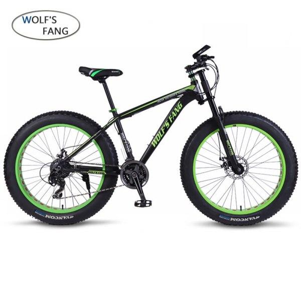 """wolf s fang Mountain bike bicycle aluminum frame 7 21 24 speed mechanical brakes 26 wolf's fang Mountain bike bicycle aluminum frame 7/21/24 speed mechanical brakes 26 """"x 4.0 wheels long fork Fat Bikes road bike"""