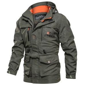 2019 Bomber Jacket Men Autumn Winter Multi pocket Waterproof Military tactical Jacket Cap Windbreaker Men Coat Innrech Market.com