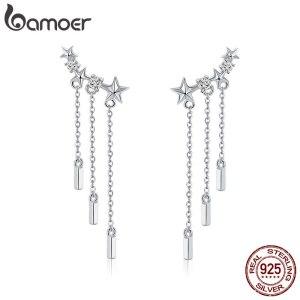 BAMOER Genuine 925 Sterling Silver Long Chain Star Dazzling CZ Drop Earrings for Women Fashion Earrings Innrech Market.com