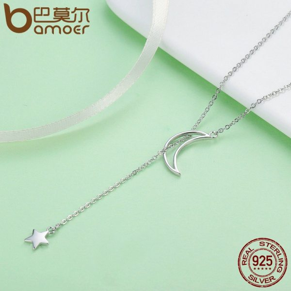 BAMOER New Arrival Fashion 925 Sterling Silver Moon and Star Tales Chain Link Pendant Necklaces for 1 BAMOER New Arrival Fashion 925 Sterling Silver Moon and Star Tales Chain Link Pendant Necklaces for Women Fine Jewelry SCN108