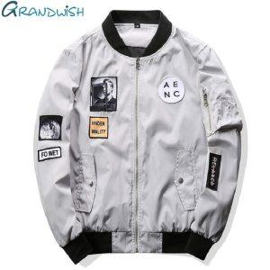 Grandwish Fashion Men Bomber Jacket Hip Hop Patch Designs Slim Fit Pilot Bomber Jacket Coat Men Innrech Market.com