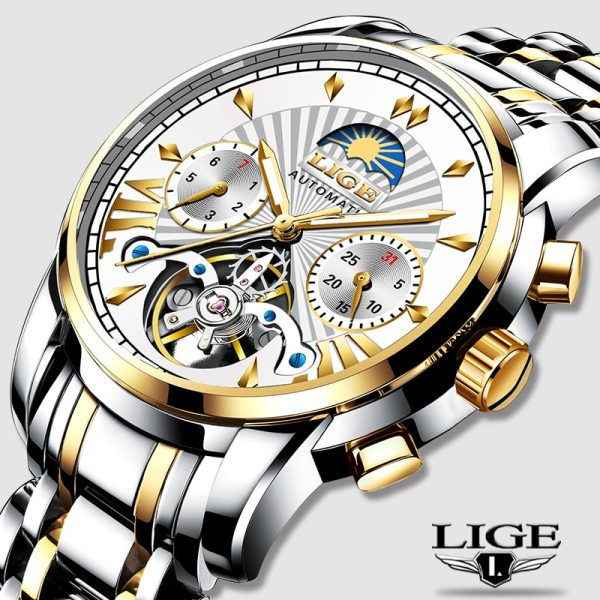LIGE Official Store Mens Watches Top Brand Luxury Automatic Mechanical Business Clock Gold Watch Men Reloj LIGE Official Store Mens Watches Top Brand Luxury Automatic Mechanical Business Clock Gold Watch Men Reloj Mecanico de Hombres