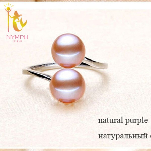 NYMPH Pearl Rings Jewlery Natural Freshwater Pearl Double Trendy Rings Wedding Bands Party Birthday Gift For 3 NYMPH Pearl Rings Jewlery Natural Freshwater Pearl Double Trendy Rings Wedding Bands Party Birthday Gift For Girl Women R028