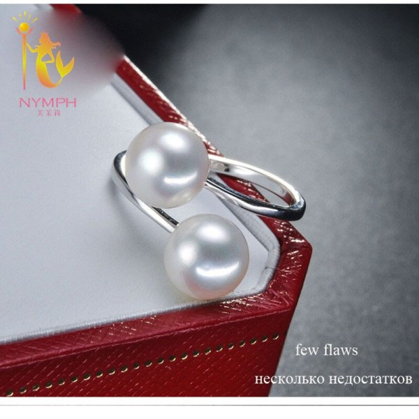 NYMPH Pearl Rings Jewlery Natural Freshwater Pearl Double Trendy Rings Wedding Bands Party Birthday Gift For 4 NYMPH Pearl Rings Jewlery Natural Freshwater Pearl Double Trendy Rings Wedding Bands Party Birthday Gift For Girl Women R028