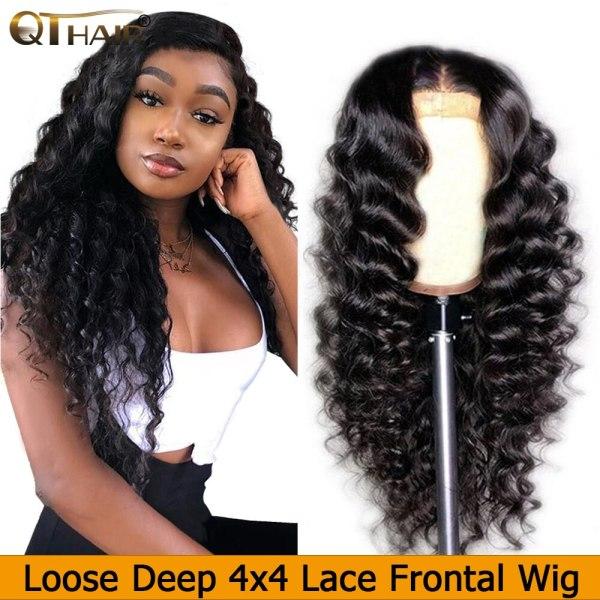 QT 4 4 Lace Closure Human Hair Wigs Brazilian Loose Deep Wave for Black Women Pre QT 4*4 Lace Closure Human Hair Wigs Brazilian Loose Deep Wave for Black Women Pre-Plucked Lace Closure Human Hair Wig