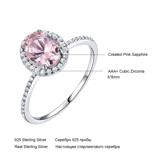 UMCHO 925 Sterling Silver Ring Oval Classic Pink Morganite Rings For Women Engagement Gemstone Wedding Band 4 UMCHO 925 Sterling Silver Ring Oval Classic Pink Morganite Rings For Women Engagement Gemstone Wedding Band Fine Jewelry Gift