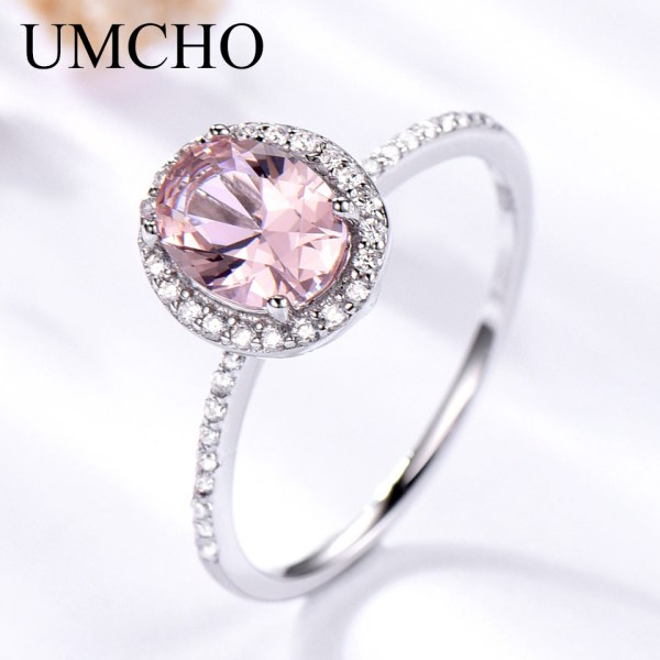 UMCHO 925 Sterling Silver Ring Oval Classic Pink Morganite Rings For Women Engagement Gemstone Wedding Band UMCHO 925 Sterling Silver Ring Oval Classic Pink Morganite Rings For Women Engagement Gemstone Wedding Band Fine Jewelry Gift