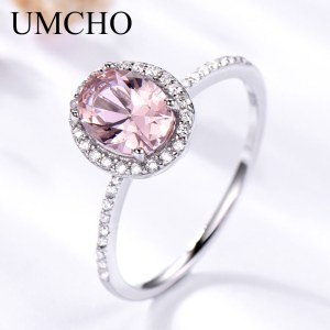 UMCHO 925 Sterling Silver Ring Oval Classic Pink Morganite Rings For Women Engagement Gemstone Wedding Band Innrech Market.com