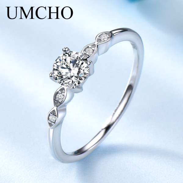UMCHO Silver 925 Jewelry Luxury Bridal Cubic Zirconia Rings for Women Solitaire Engagement Wedding Band Party 1 UMCHO Silver 925 Jewelry Luxury Bridal Cubic Zirconia Rings for Women Solitaire Engagement Wedding Band Party Gift Jewelry New