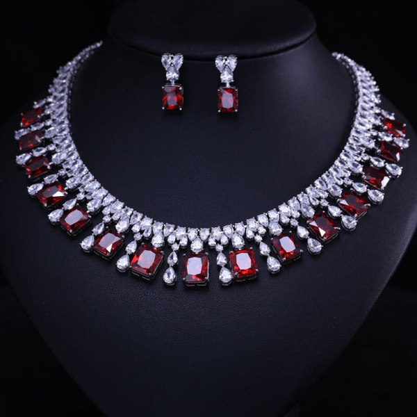4 Color Select Luxury better Cubic Zircon Clear Necklace Earrings Set Heavy Dinner Jewelry Set Wedding 2 4 Color Select Luxury better Cubic Zircon Clear Necklace Earrings Set Heavy Dinner Jewelry Set Wedding Bridal Dress Accessories