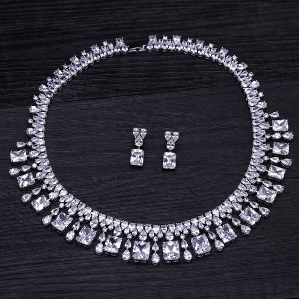 4 Color Select Luxury better Cubic Zircon Clear Necklace Earrings Set Heavy Dinner Jewelry Set Wedding 4 4 Color Select Luxury better Cubic Zircon Clear Necklace Earrings Set Heavy Dinner Jewelry Set Wedding Bridal Dress Accessories