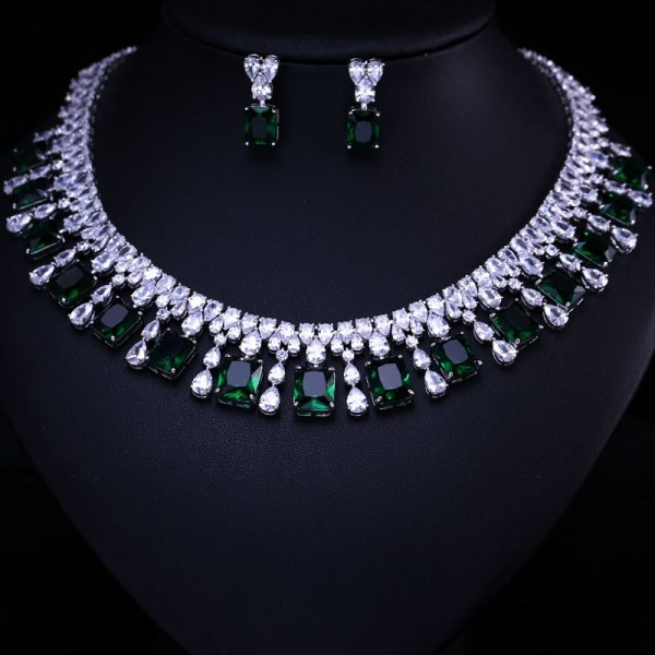 4 Color Select Luxury better Cubic Zircon Clear Necklace Earrings Set Heavy Dinner Jewelry Set Wedding 4 Color Select Luxury better Cubic Zircon Clear Necklace Earrings Set Heavy Dinner Jewelry Set Wedding Bridal Dress Accessories
