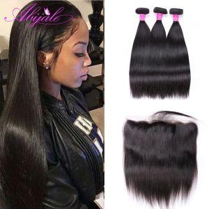 Abijale Straight Hair Bundles With Frontal Closure Brazilian Hair Weave Bundles Remy Human Hair Bundles With Innrech Market.com