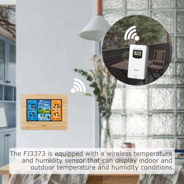 FanJu FJ3373 Weather Station Digital Thermometer Hygrometer Wireless Sensor Forecast Temperature Watch Wall Desk Alarm Clock 2 FanJu FJ3373 Weather Station Digital Thermometer Hygrometer Wireless Sensor Forecast Temperature Watch Wall Desk Alarm Clock