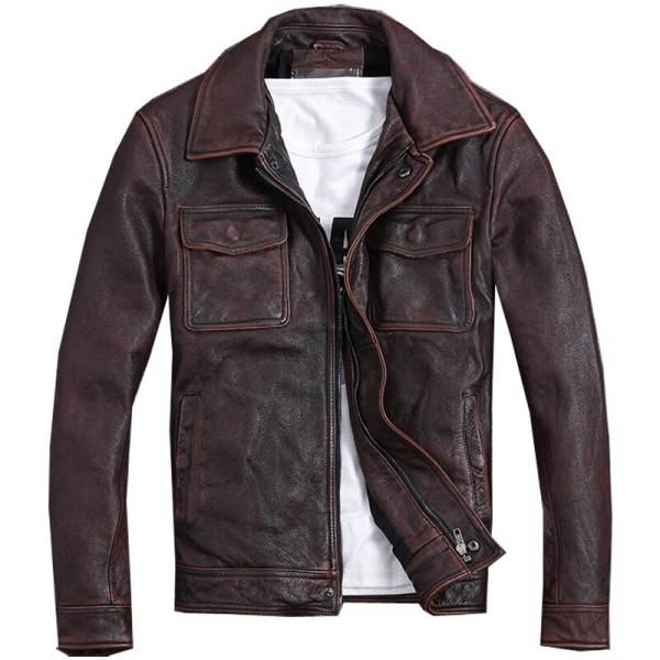 Free shipping Plus Size classic leather jacket short genuine leather coat vintage brown mens slim leather Free shipping.Plus Size classic leather jacket,short genuine leather coat,vintage brown mens slim leather coat.business,sales