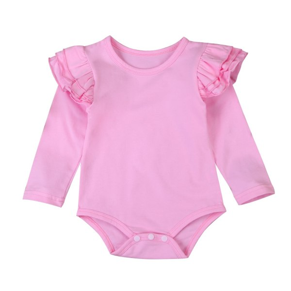 Infant Baby Girls Solid Ruffles Cotton Romper Long Sleeve Outfits Jumpsuit Clothes 4 Infant Baby Girls Solid Ruffles Cotton Romper Long Sleeve Outfits Jumpsuit Clothes