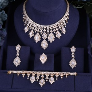JaneKelly High Quality White Cubic Zircon Pendant Jewelry Sets Gold Color Female Jewelry Engagement Gifts N Innrech Market.com