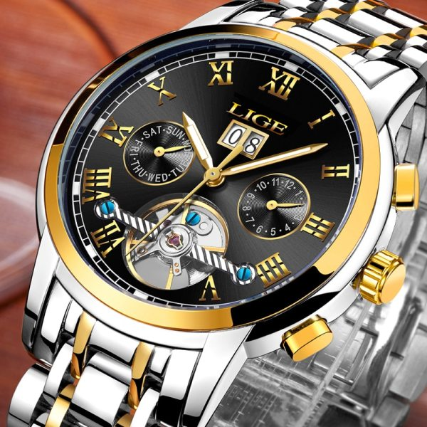LIGE Mens Watches Top Luxury Brand Automatic Mechanical Watch Men Full Steel Business Waterproof Sport Watches LIGE Mens Watches Top Luxury Brand Automatic Mechanical Watch Men Full Steel Business Waterproof Sport Watches Relogio Masculino