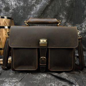 MAHEU Luxury Fashion 100 Genuine Leather Men Briefcase Cow Leather Laptop Bag Vintage Shoulder Bag Real Innrech Market.com