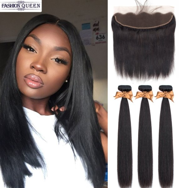 3 Bundles With Frontal Brazilian Straight Human Hair Weave Bundles With Closure Lace Frontal Non Remy 3 Bundles With Frontal Brazilian Straight Human Hair Weave Bundles With Closure Lace Frontal Non Remy Hair Fashion Queen