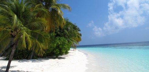 Una splendida spiaggia di Thulusdhoo, nell'atollo di North Male