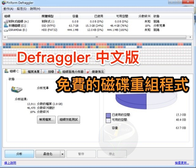 DefragglerPortable 2.22.995 中文可攜版 (for Windows)