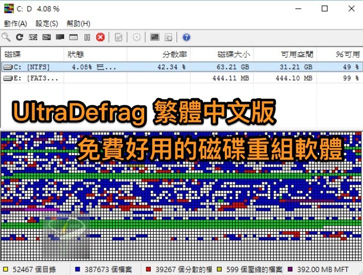 UltraDefrag 7.1.1 中文可攜版 (for Windows)