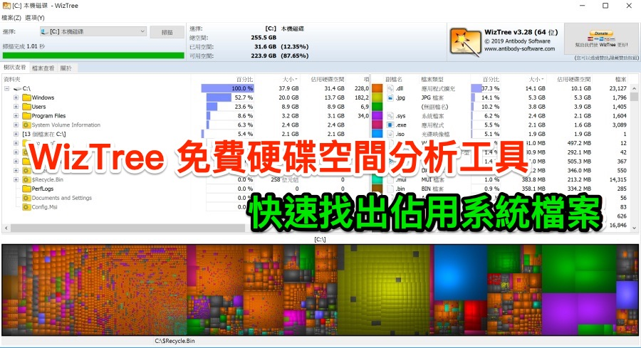 WizTree 3.28 中文可攜版 (for Windows)