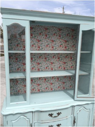 French Provincial Hutch With Vintage Fabric Backing In