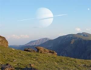 Consepção artística de uma lua habitável, com uma bela vista para o seu planeta gasoso. Imagina só como seria legal...