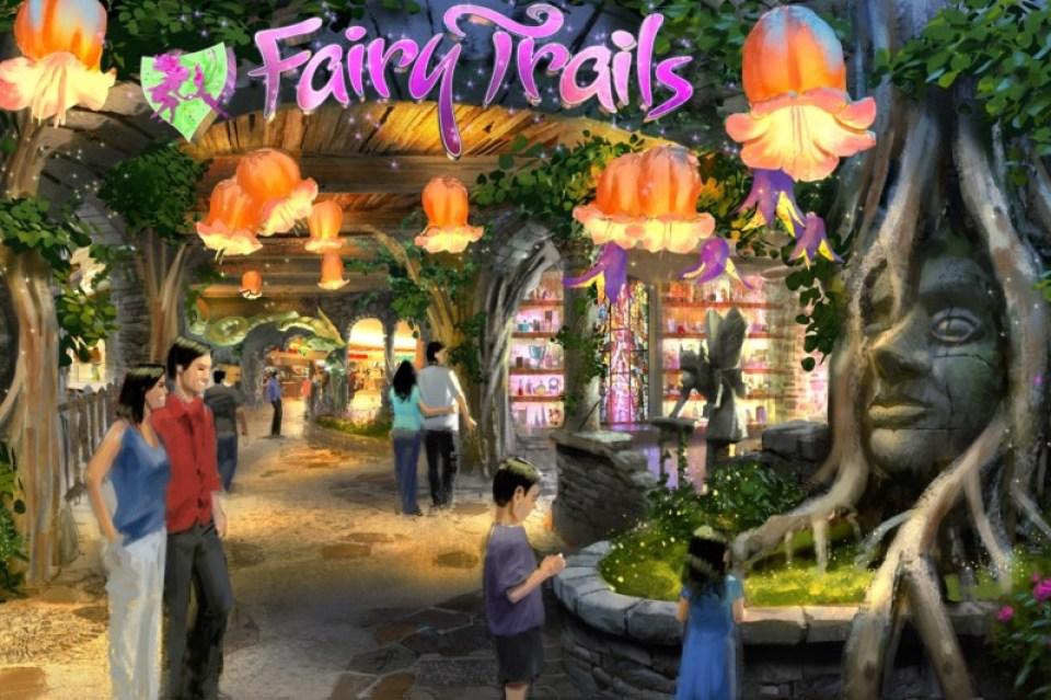 "As shown in this design rendering  by Goddard Group, ""Fairy Trails"" is an expansion of  Lotte World's ""Underland"" themed zone. The new land  allows guests to explore a magical subterranean world,  which is home to an ancient tribe of friendly faeries and  sprites. When completed in early 2014, ""Fairy Trails"" will  feature new dining and retail options, as well as a  highly-themed family ride experience. Photo:  ©2013  Gary Goddard Entertainment"